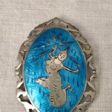 Joyeria - Broche vintage de plata y esmalte - 155468525