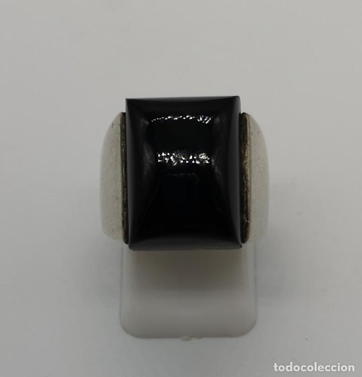 Joyeria: Anillo vintage en plata de ley maciza con cabujón de azabache autentico, y contraste . - Foto 5 - 156672294