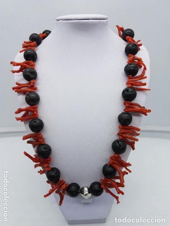 Joyeria: Majestuoso collar hecho con ramas de coral, rocas volcanicas talladas y plata de ley contrastada. - Foto 4 - 156825242