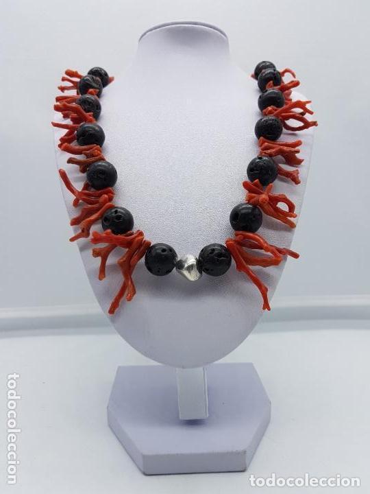 Joyeria: Majestuoso collar hecho con ramas de coral, rocas volcanicas talladas y plata de ley contrastada. - Foto 5 - 156825242