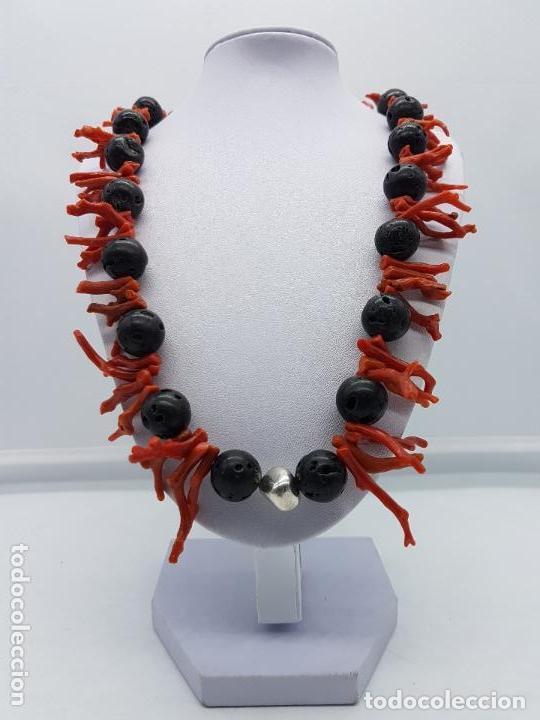 Joyeria: Majestuoso collar hecho con ramas de coral, rocas volcanicas talladas y plata de ley contrastada. - Foto 6 - 156825242