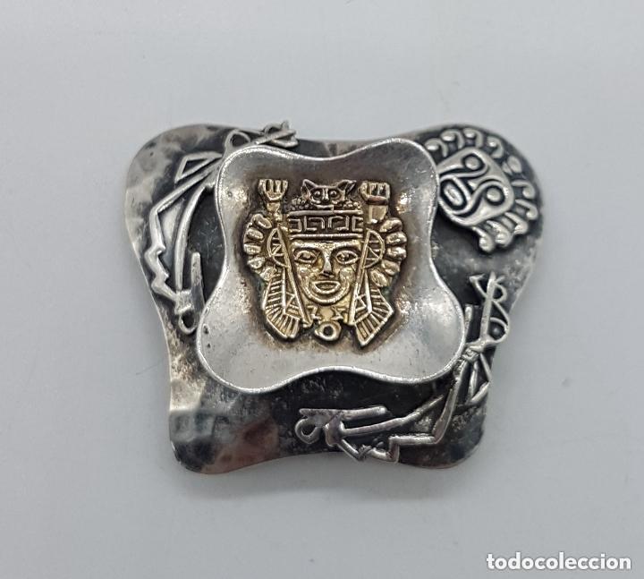 Joyeria: Magnifico broche antiguo Inca en plata de 950 milésimas y acabados en oro de 18k con relieves. - Foto 2 - 156944698
