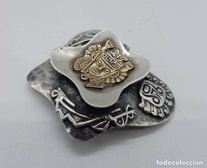Joyeria: Magnifico broche antiguo Inca en plata de 950 milésimas y acabados en oro de 18k con relieves. - Foto 3 - 156944698