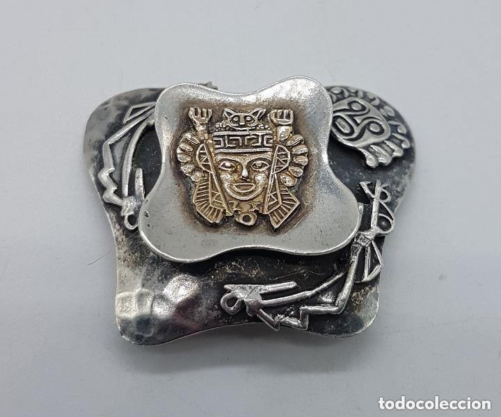 Joyeria: Magnifico broche antiguo Inca en plata de 950 milésimas y acabados en oro de 18k con relieves. - Foto 4 - 156944698