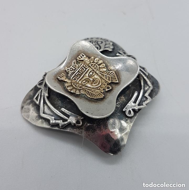 Joyeria: Magnifico broche antiguo Inca en plata de 950 milésimas y acabados en oro de 18k con relieves. - Foto 5 - 156944698
