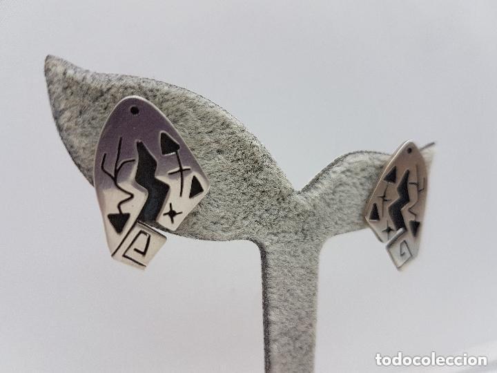 Joyeria: Excelentes pendientes antiguos de diseño MIRÓ en plata de ley contrastada. - Foto 2 - 156961198