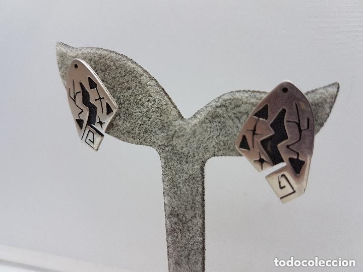 Joyeria: Excelentes pendientes antiguos de diseño MIRÓ en plata de ley contrastada. - Foto 3 - 156961198