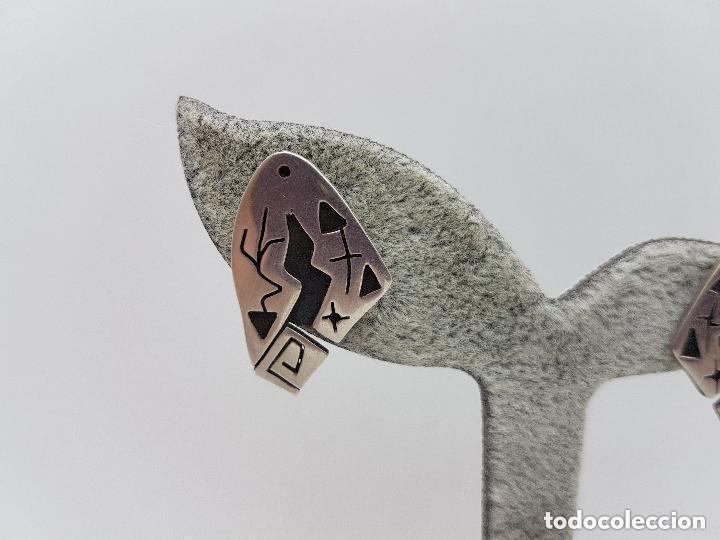 Joyeria: Excelentes pendientes antiguos de diseño MIRÓ en plata de ley contrastada. - Foto 4 - 156961198