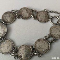 Joaillerie: ANTIGUA PULSERA CON 7 MONEDAS DE 1 REAL DE ISABEL II EN PLATA - DIFERENTES AÑOS 1859, 1847,1851, 185. Lote 157888366