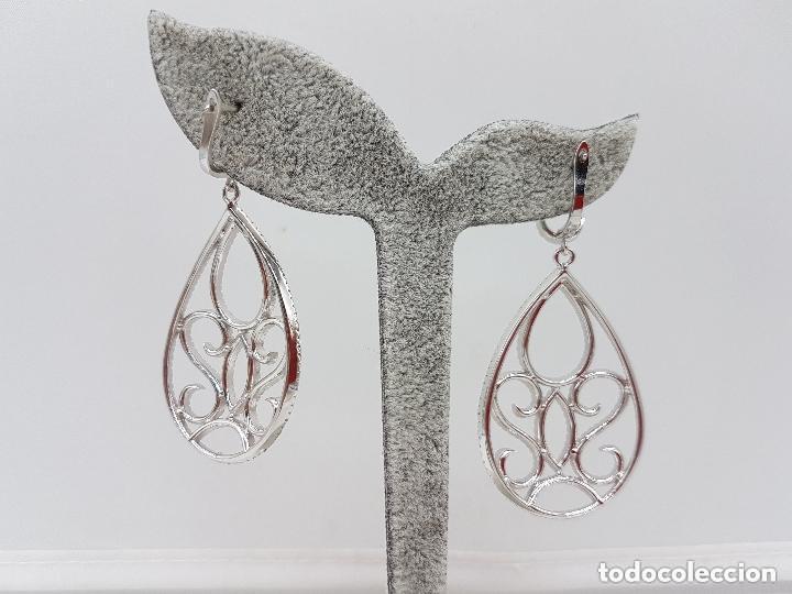 Joyeria: Maravillosos pendientes de plata de gran tamaño con pavé de circonita de diseño victoriano. - Foto 4 - 158213298