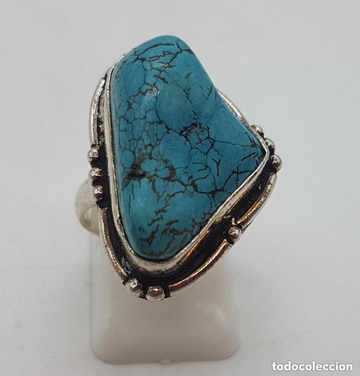 Joyeria: Precioso anillo antiguo en plata de ley con cabujon de piedra turquesa natural incrustada. - Foto 2 - 158218898