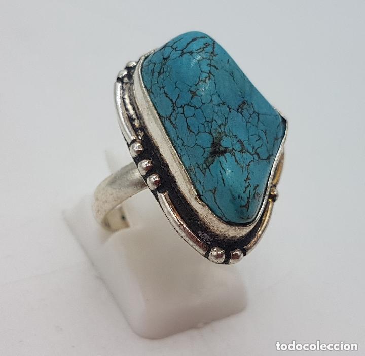 Joyeria: Precioso anillo antiguo en plata de ley con cabujon de piedra turquesa natural incrustada. - Foto 3 - 158218898