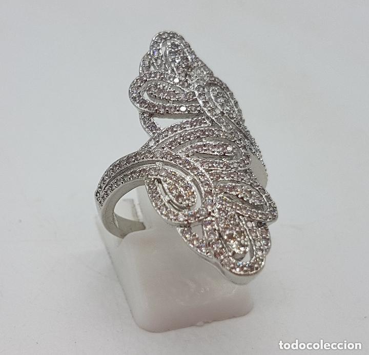 Joyeria: Precioso gran anillo tipo lanzadera chapado en plata con pave de circonita de estilo floral. - Foto 4 - 158223898