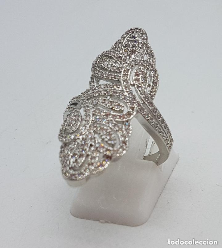 Joyeria: Precioso gran anillo tipo lanzadera chapado en plata con pave de circonita de estilo floral. - Foto 6 - 158223898