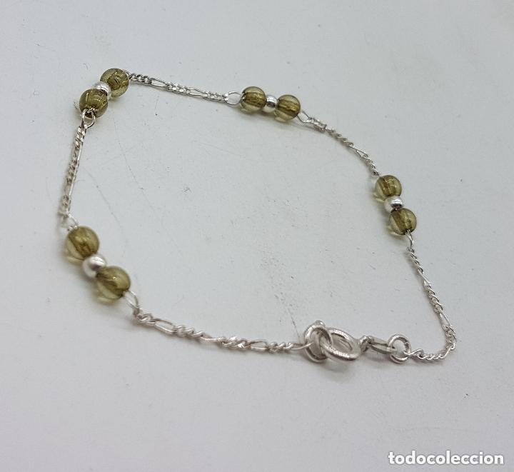 Joyeria: Bonita pulsera antigua en plata de ley contrastada con bolitas de cristal. - Foto 3 - 158261918