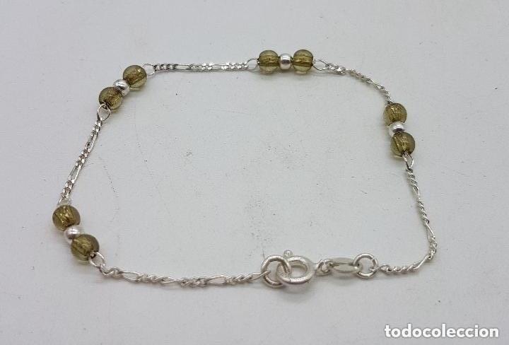 Joyeria: Bonita pulsera antigua en plata de ley contrastada con bolitas de cristal. - Foto 4 - 158261918