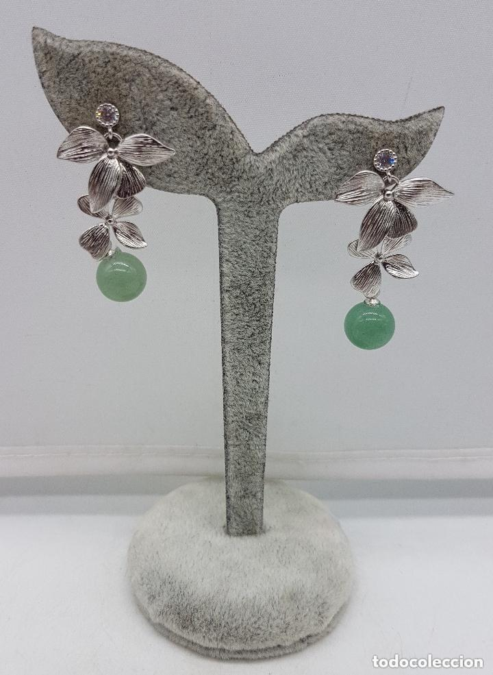 Joyeria: Preciosos pendientes en plata de ley contrastada con bola de calcedonia y circonita engarzada. - Foto 2 - 158262370