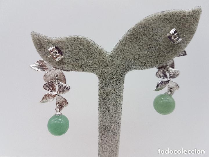 Joyeria: Preciosos pendientes en plata de ley contrastada con bola de calcedonia y circonita engarzada. - Foto 5 - 158262370