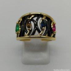 Joyeria - Sofisticado anillo de diseño gotico platinado en negro y oro de 18k con pedrería talla marqués . - 158310090