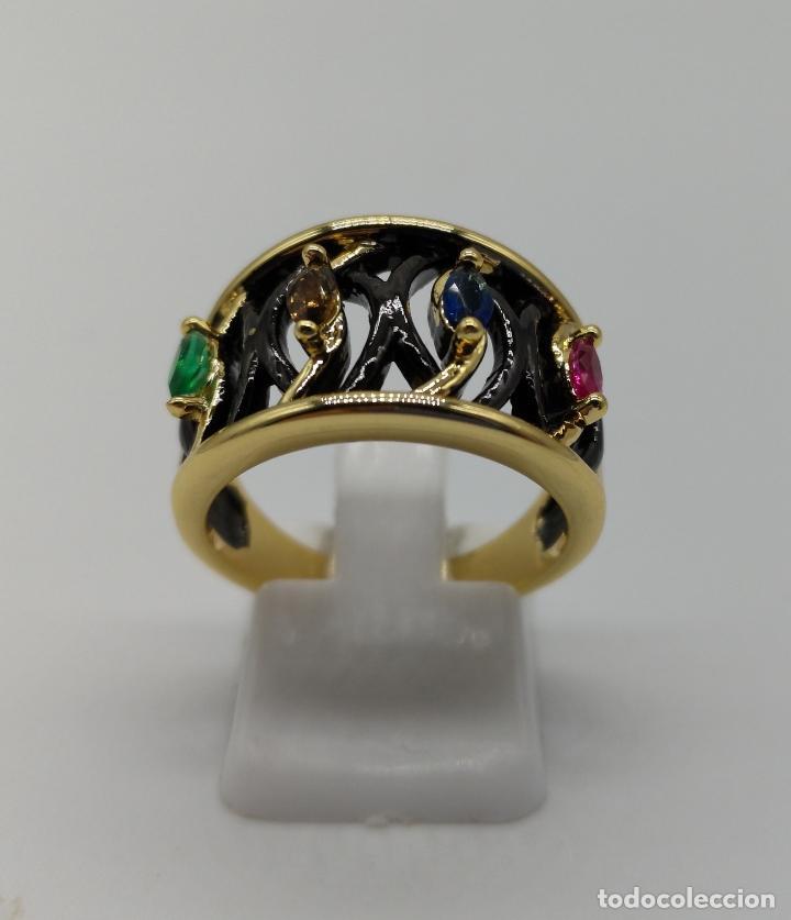 Joyeria: Sofisticado anillo de diseño gotico platinado en negro y oro de 18k con pedrería talla marqués . - Foto 3 - 158310090