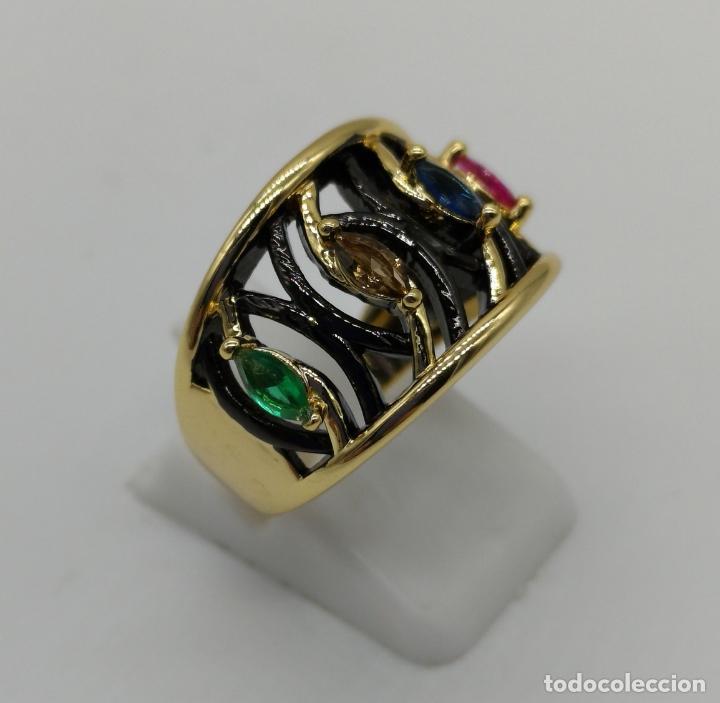 Joyeria: Sofisticado anillo de diseño gotico platinado en negro y oro de 18k con pedrería talla marqués . - Foto 4 - 158310090