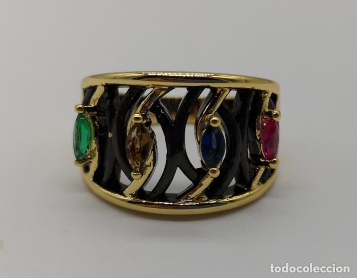 Joyeria: Sofisticado anillo de diseño gotico platinado en negro y oro de 18k con pedrería talla marqués . - Foto 6 - 158310090