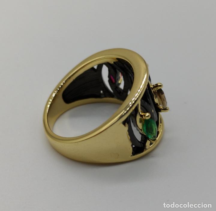 Joyeria: Sofisticado anillo de diseño gotico platinado en negro y oro de 18k con pedrería talla marqués . - Foto 7 - 158310090