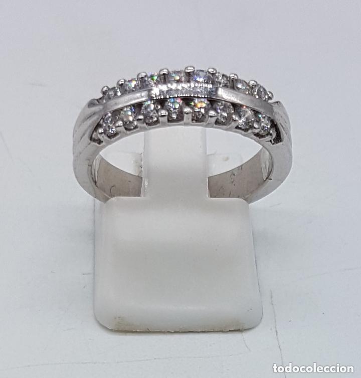 Joyeria: Elegante anillo antiguo en plata de ley contrastada con pave de circonitas talla brillante . - Foto 3 - 158359102