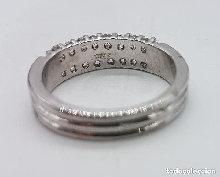 Joyeria: Elegante anillo antiguo en plata de ley contrastada con pave de circonitas talla brillante . - Foto 5 - 158359102