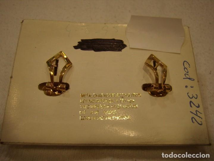 Joyeria: Pendientes chapado oro, circonios y perla, 18 KT, años 80, cierre omega, 18 Kt, Nuevo sin usar. - Foto 5 - 158374850
