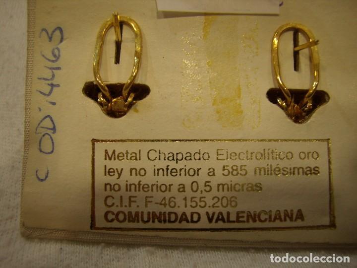 Joyeria: Pendientes chapado oro, circonios, piedras azules, años 80,cierre omega, de Rofixor, Nuevo sin usar. - Foto 5 - 158378694