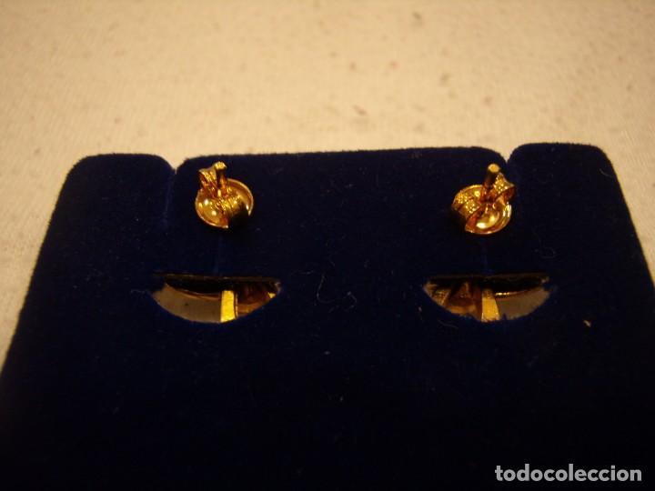 Joyeria: Pendientes chapado oro, 18 Kt, circonios, años 80, cierre tuerca, 2,5 cm, Nuevo sin usar. - Foto 5 - 158432794