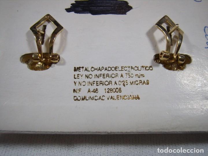 Joyeria: Pendientes chapado oro, circonios y perla, 18 KT, años 80, cierre omega, 18 Kt, Nuevo sin usar. - Foto 4 - 158374850