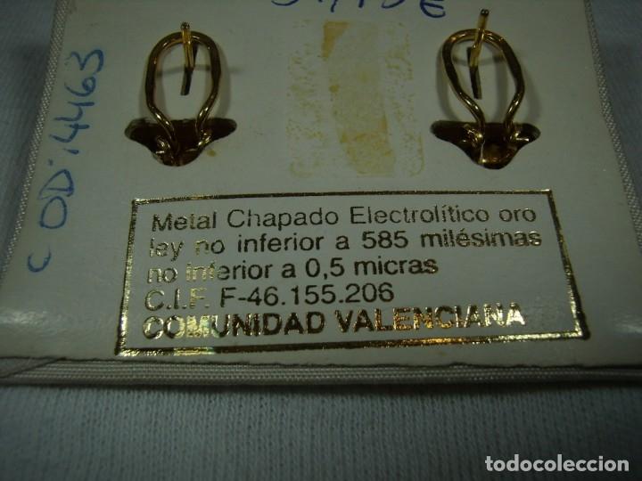 Joyeria: Pendientes chapado oro, circonios, piedras azules, años 80,cierre omega, de Rofixor, Nuevo sin usar. - Foto 3 - 158378694