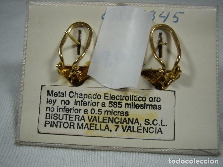 Joyeria: Pendientes chapado oro de Rofixor, circonios, piedras de colores,18 Kt,cierre omega, Nuevo sin usar. - Foto 4 - 158425010
