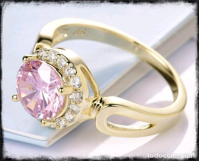 Joyeria: Precioso anillo de oro de 18kt laminado con kuncita engastada en talla oval - Foto 2 - 177324502
