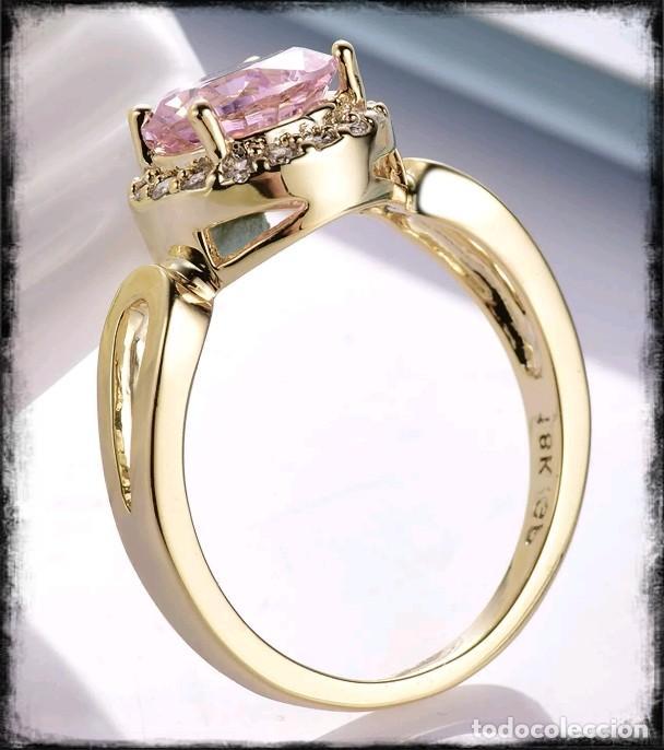 Joyeria: Precioso anillo de oro de 18kt laminado con kuncita engastada en talla oval - Foto 3 - 177324502