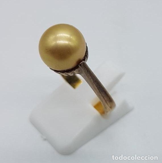 Joyeria: Anillo antiguo, epoca art decó en plata de ley contrastada y oro de 18k con perla incrustada . - Foto 2 - 158743274