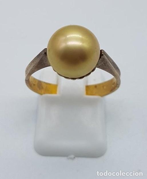 Joyeria: Anillo antiguo, epoca art decó en plata de ley contrastada y oro de 18k con perla incrustada . - Foto 3 - 158743274
