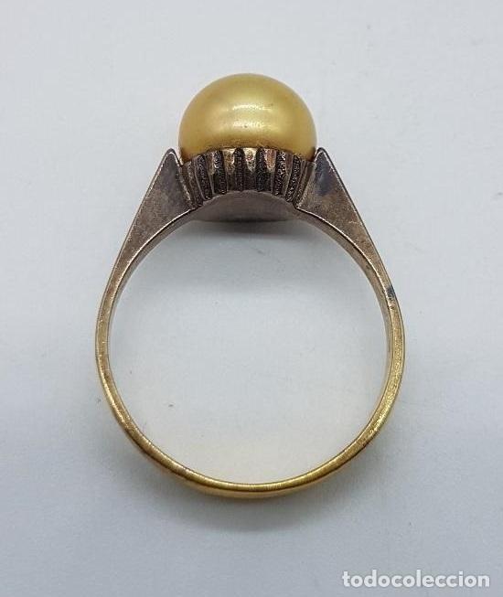 Joyeria: Anillo antiguo, epoca art decó en plata de ley contrastada y oro de 18k con perla incrustada . - Foto 5 - 158743274