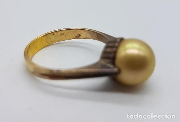 Joyeria: Anillo antiguo, epoca art decó en plata de ley contrastada y oro de 18k con perla incrustada . - Foto 6 - 158743274