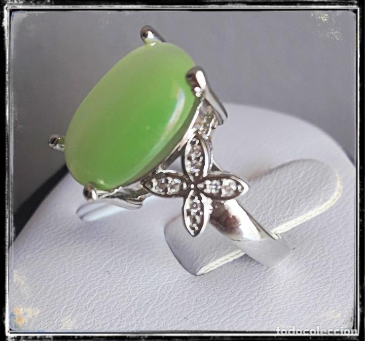 Joyeria: Bonito anillo de plata 925 con calcedonia en forma oval - Foto 3 - 194528863