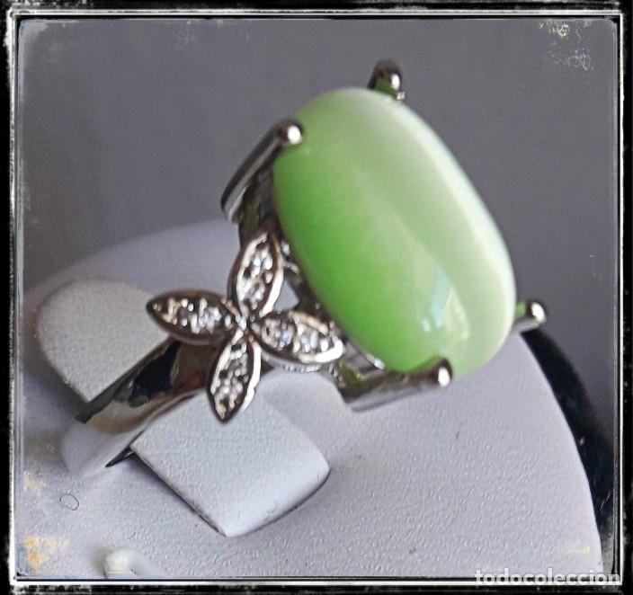 Joyeria: Bonito anillo de plata 925 con calcedonia en forma oval - Foto 2 - 194528863