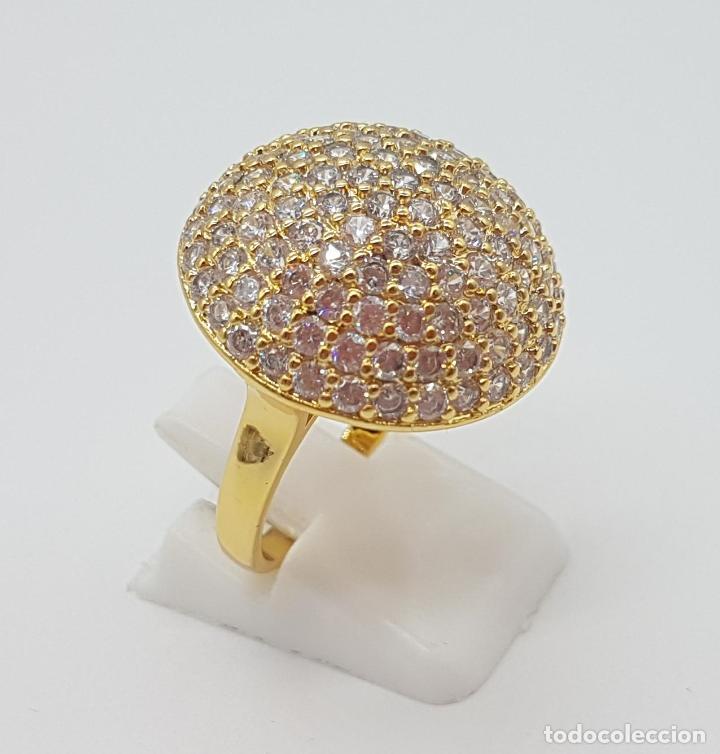 Joyeria: Elegante anillo de lujo con pavé de circonitas talla brillante engarzadas y chapado en oro de 18k . - Foto 3 - 158816662