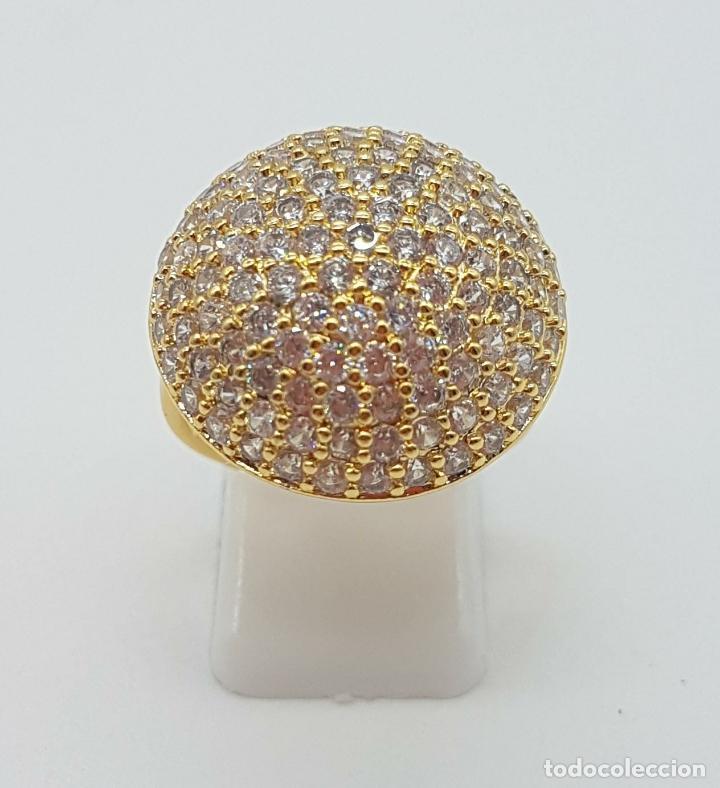 Joyeria: Elegante anillo de lujo con pavé de circonitas talla brillante engarzadas y chapado en oro de 18k . - Foto 4 - 158816662