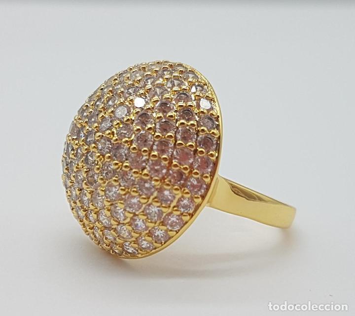 Joyeria: Elegante anillo de lujo con pavé de circonitas talla brillante engarzadas y chapado en oro de 18k . - Foto 5 - 158816662