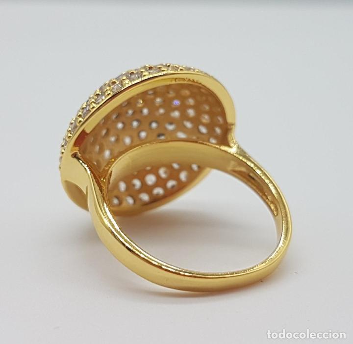 Joyeria: Elegante anillo de lujo con pavé de circonitas talla brillante engarzadas y chapado en oro de 18k . - Foto 6 - 158816662