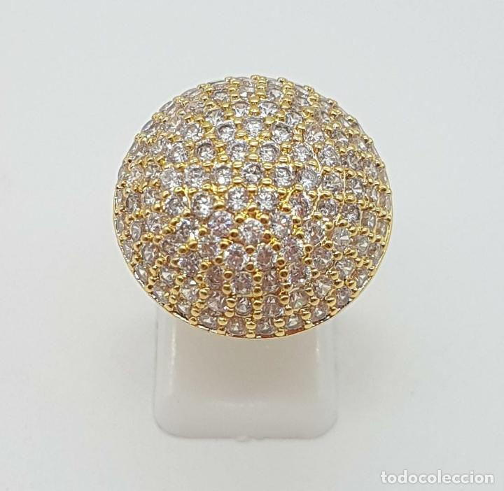 Joyeria: Elegante anillo de lujo con pavé de circonitas talla brillante engarzadas y chapado en oro de 18k . - Foto 7 - 158816662