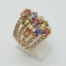 Jewelry - Gran anillo de lujo chapado en oro de 18k, circonitas talla brillante y cristal austriaco multicolor - 158817266