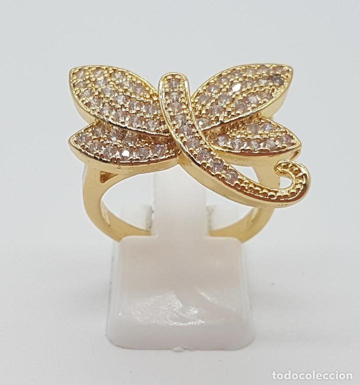 Joyeria: Anillo de lujo libelula con pavé de circonitas talla brillante engarzadas y chapado en oro de 18k - Foto 2 - 158820922